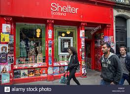The Shelter by The Shelter Charity Shop On Forest Road In Edinburgh Festooned