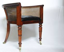 regency mahogany caned library tub chair or desk chair by
