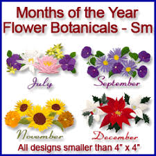 Flowers Of The Month Machine Embroidery Designs At Embroidery Library Embroidery Library