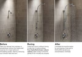 hydrorail shower columns bathroom kohler hydrorail r beam idea starter