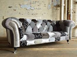 Chesterfield Patchwork Sofa Chesterfield Sofa Fabric 3 Seater On Casters Grey Animal