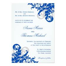 blue wedding invitations royal blue and silver wedding invitations announcements zazzle