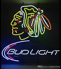 bud light light up sign fashion new handcraft bud light chicago blackhawks real glass tubes