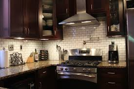 Subway Tile Backsplash Kitchen Good Looking Black Kitchen Cupboards And Subway Tiles Shining