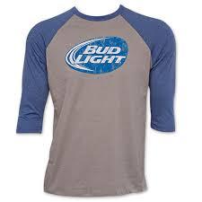 bud light baseball jersey light grey baseball sleeve shirt