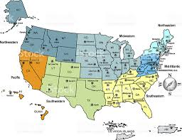 map of usa with compass usa map outline with state capitals and its territories stock
