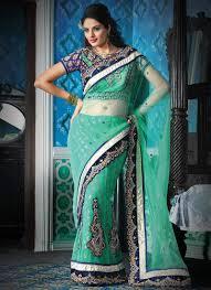 light pista green net lehenga style saree