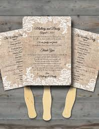 wedding fan programs diy custom burlap and white lace rustic wedding fan programs wedding