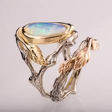 opal engagement rings twig and leaf engagement set opal engagement ring twig opal