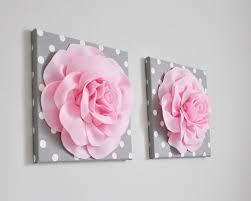 light pink fabric roses nursery decor 3d wall art polka dot