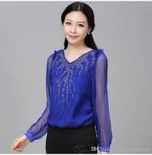royal blue blouse top 2018 fashion casual chiffon shirts