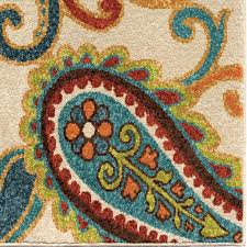 Brown And Turquoise Area Rugs Indoor Outdoor Area Rug Ivory Green Brown Blue Paisley 5 U00272