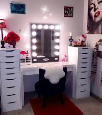 black makeup desk with drawers marilyn inspired makeup room black broadway mirror white ikea desk
