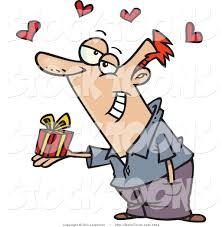 stock cartoon of a caucasian man holding a valentine u0027s day gift by