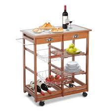 homcom tile top trolley kitchen cart w wine rack