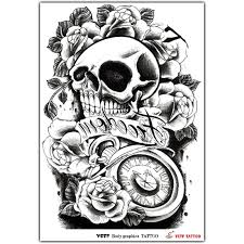 collection of 25 clock skull and roses designs
