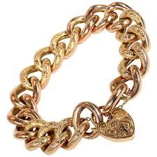 vintage heart bracelet images Antique victorian gold curb link heart lock bracelet for sale at jpg