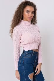 sweater pink knitted sweater turtleneck cropped sweater