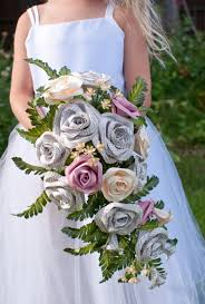 Cascade Bouquet Great Gatsby Book Page And Paper Bridal Cascade Bouquet With Silk