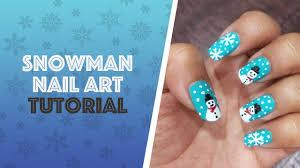 snowman nail art snowflakes nail art winter nails tutorial