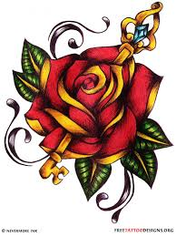 key pierced in rose tattoo design