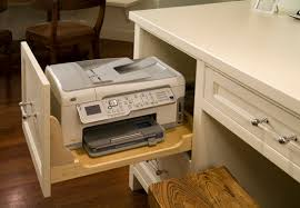 Small Desk With Pull Out Drawer Keep Your Printer In The Drawer With The Side Cut Out Easy Access