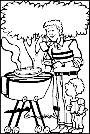 grilling meat father u0027s coloring picture kids father u0027s