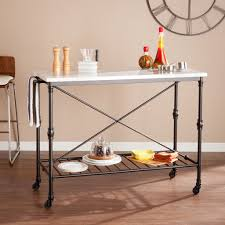 faux marble rolling kitchen island cart kitchen islands