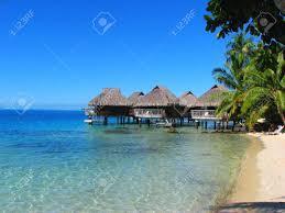 water bungalows in bora bora french polynesia stock photo