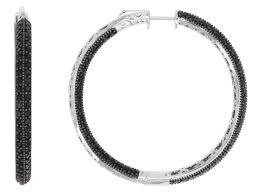 black hoop earrings 9 12ctw black spinel sterling silver inside out hoop earrings