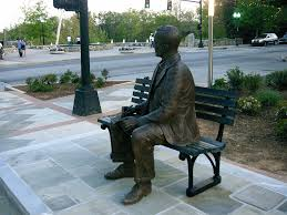 dr charles townes statue facing falls park on the reedy river