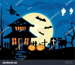halloween night theme dark house full stock vector 37928290