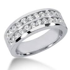 channel set wedding band two row diamond channel wedding band men s ring