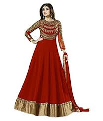 omsai fashion women latest party wear designer red georgette