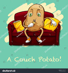 Fat Couch Potatoes Potato Eating Chips On Couch Illustration Stock Vector 312992747