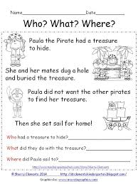 freebie reading comprehension who what where paula the pirate