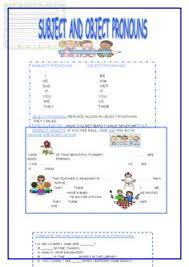 subject and object pronouns classroom ambientation