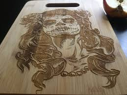 cutting board engraved personalized laser engraved bamboo cutting board sugar skull da