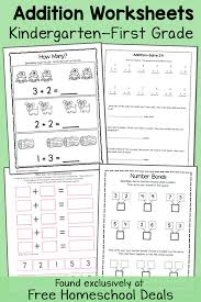 free addition worksheets k 1 instant download free homeschool