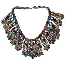 rhinestone collar necklace images 1940s stained glass window large multi color rhinestone collar jpg