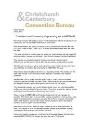 Convention Bureau Christchurch Canterbury Christchurch The Garden City Zealand