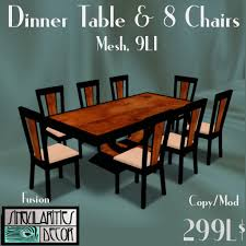 second life marketplace french art deco dining table and 8