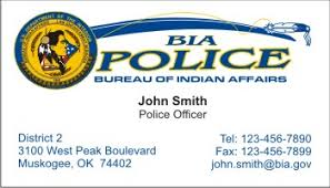 us bureau of indian affairs policebusinesscards com display business cards