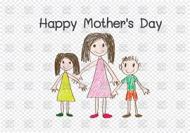happy mother u0027s day card with cartoon family vector image 87249