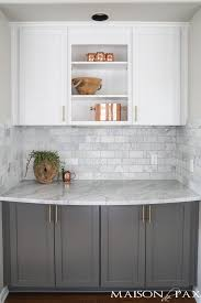 light gray kitchen cabinets with marble countertops gray and white and marble kitchen reveal maison de pax