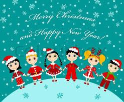 the christmas children card vector cartoon illustration stock