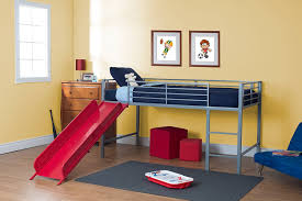 Twin Metal Loft Bed With Desk Amazon Com Dhp Junior Fantasy Loft Bed Silver With Red Slide