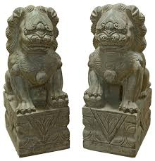 carved foo dogs set of 2 asian garden statues and