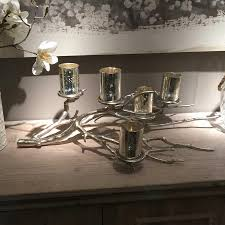 Tree Branch Candle Holder Distressed Silver Tree Branch With 5 Mercury Silver Candle Votives