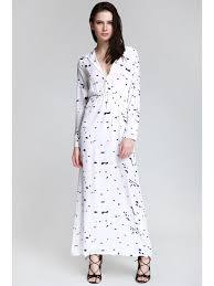 sleeve maxi dress ink print shirt neck sleeve maxi dress white maxi dresses m